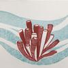 """Sponge tubes"" - Linocut and watercolour"
