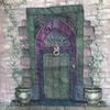 Violet and Green Door - applique, painted textiles and sari silk with machine stitching and hand stitching