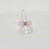 silver textured ring with pink spinel