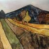 Watercolour landscape: Dunstable Downs - Trees