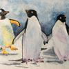 Keep Up!  A trio of penguins braving the cold to send us all the best this Christmas.   Cards available.