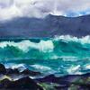 Lanzarote waves, watercolour