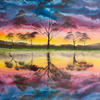 """'Tree of Life 2' Original oil painting, 22x18"""" canvas, Vibrant rainbow of coloured sunset sky & clouds, Silhouetted trees along a river of water & refections."""