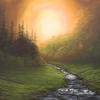 """'Sunset Stream' Original Landscape, Oil Painting, 22x18"""" canvas, glowing sunset and winding stream"""