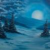"'Blue Winter' Oil Painting, 22x18"" canvas, winter scene, rolling hills & storm cloud."