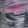 """Red Black & White snow scene, Oil painting, 22x18"""" canvas, Limited colour, snow, distant mountains evergreens & frozen stream."""