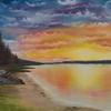 "'Calm Sunset' Original Oil Painting, 22x18"" canvas, golden sunset & calm sea cove"