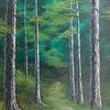 """'Forrest walk' Original Landscape, oil painting, 22x18"""" canvas, trees, deep wooded scene and path"""