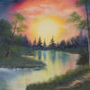 """'Sunset Lake' Original Landscape, Oil Painting, 22x18"""" canvas, sunset splendour, refections in water, walk along the lake"""