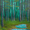 """'Puddles in the Woods' Oil Painting, 24x18"""" Canvas, Deep wooded scene."""