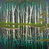 """'Blue Birch Waters' Oil Painting, 24x18"""" Canvas, refections, inspired by Bob Ross """"Cold Birch'"""