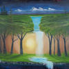 """Dreaming, Surreal oil painting, 22x18"""" canvas, a dream, galaxy, mountains waterfall or faces, night to day, and falling water into nothingness, inspired by David Judd artwork 'Blue tree' Painted by leon Barnes, for album cover for Band 'Exact'"""