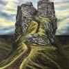 """'Fairy Glen' Isle of Skye, Oil Painting, 24x18"""" canvas, Portrait Landscape scene. Ruined Castle or rocks"""