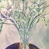 Spring flower still life. Acrylic on paper; 50 x 62cm framed.