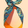 Wired Headscarf featuring the crete pattern, available in other designs, handwash only, £8 each available from the artist