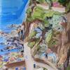 'Little Beach' oil on primed paper, 40 x 35 cm incl. white frame.