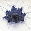 Detail of Blue flower, woven in dyed and clear fishing line