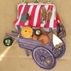 Food for sale - Hand stitched medieval market stall purse with miniature food items