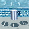 A multiblock lino cut with stripy mug and 3 pebbles, sea and birds in the background.