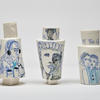 Porcelain People Vessels, Music, At the Met and At the Cafe. 15cm high x 8cm wide. Holds water.