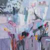 """Music at twilight"" Acrylic collage on canvas 90 x 90 cm"