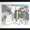 Pen drawing with collage elements of rural cottages overlooking a small garden