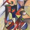 A 'cubist' style picture in acrylic on a 20mm thick canvas 40cm x 50cm  (The image is a from a can of Pepsi Max)