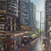 NYC Friday Night - Oil Cityscape   18x24in   Palette Knife   Original Oil Painting by Gavrailov Art