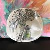 Porcelain Platter. On the Beach and under the Palm. Wall hanging option available. 18cm wide