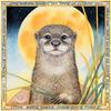 Otter Moonrise - watercolour by Sue Wookey