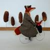 Mrs. Fox & junior enjoying a winter cycle ride!  Needlefelted wools with fabric embellishment.
