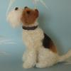 """""""Is it dinner time yet?""""  Wire Fox Terrier needlefelted with Shetland, Merino and Wensleydale wools."""