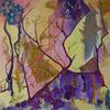Forest Interior  mixed  media acrylic painting Petra Geggie