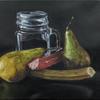 """Pears and rhubarb""-Original oil painting by Sabbi Gavrailov | Fine Art | 2021"