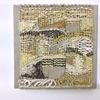 Free woven piece in linen and paper yarns