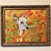 """Penny in Poppies"" Whippet portrait, Oil on Paper. Framed"