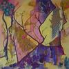 Forest Interior  acrylic painting with collage  Petra Geggie