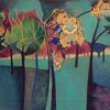 DEEP IN THE PARK mixed media   Acrylic and collage Petra Geggie