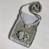 Crochet Phone Bag - Jeannie - handmade, 100% Eucalyptus fibre, Colour: Sky Blue/Eucalyptus Green