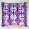 pink & purple 'pam' cushion, digitally printed on cotton canvas with a feather pad, 42 x 42cm