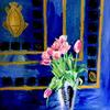 Pink tulips, mixed media on canvas