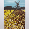 Pitstone Windmill Dunstable Downs Original linocut 2019