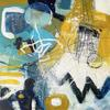 Yellow and Blue Play Mixed Media on Board