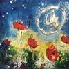 """Poppies In The Moonlight Abstract (Mixed Media on Canvas Approx size 7"""" x 7"""")"""