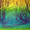purple wood batik on cotton stretched on a canvas 56 x 46cm