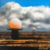 Radar Domes at Titterstone, oil painting on canvas board, SOLD