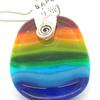Rainbow fused glass pendant with silver stamped fittings : Corona Virus theme.