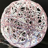 Red and White String Balls for stringing LED lights through them (Handmade )
