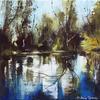 Reflections, Acrylic on canvas, framed 39 x 39 cm