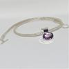 Hand made viking chain in silver with large rose amethyst stone set in silver